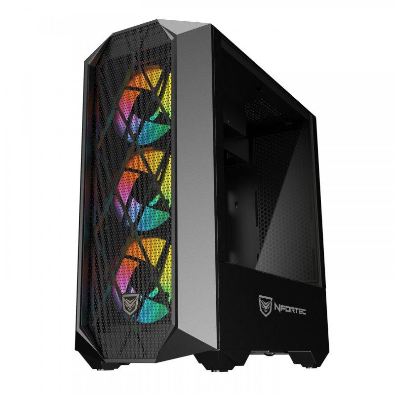Nfortec Synistra Cristal Templado USB 3.0 RGB Negro