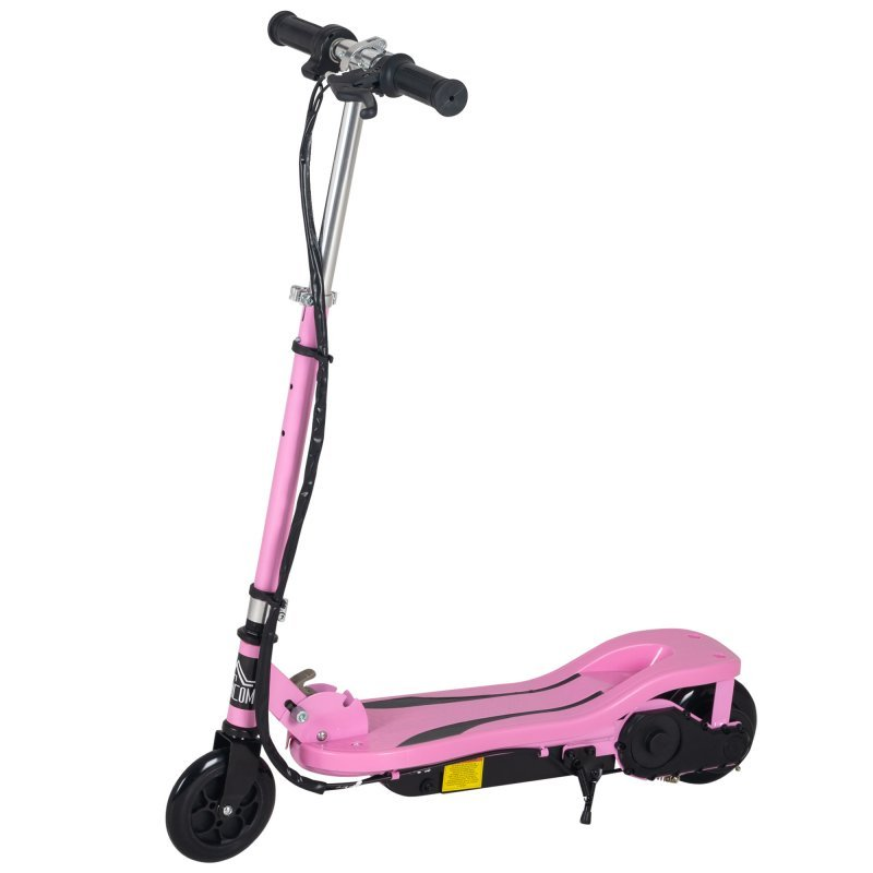 Patiente eléctrico HomCom Patinete Eléctrico Ajustable Infantil Rosa