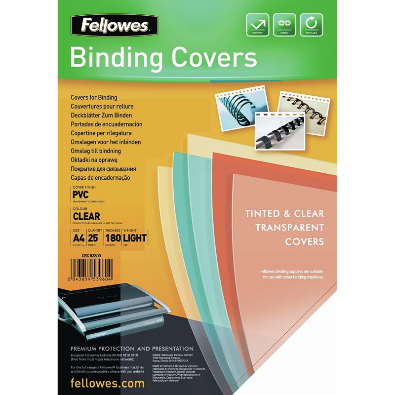 Fellowes 5380001 Pack 25 Portadas PVC Transparentes A4
