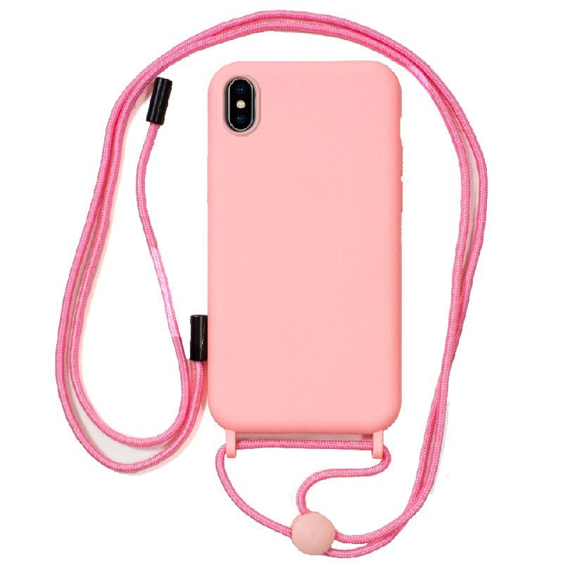 Cool Funda Rosa Con Cordón Liso Para IPhone XS Max