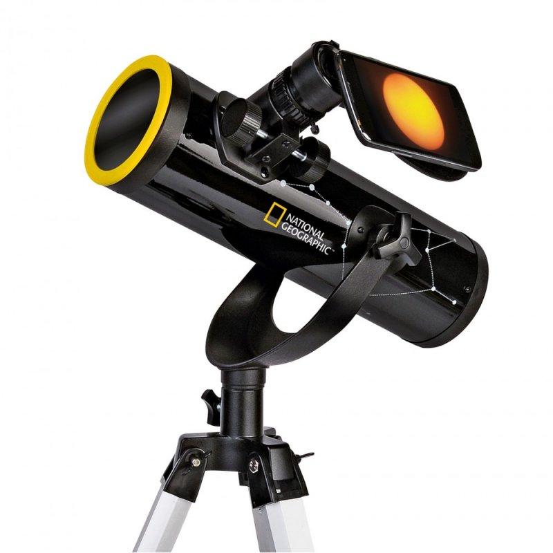 National Geographic Telescopio Reflector 76/350 con Filtro Solar y Soporte para Smartphone