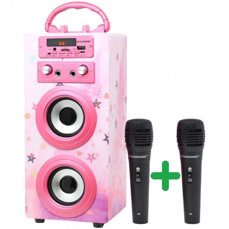 Dynasonic Karaoke 025 Altavoz Bluetooth con Karaoke y 2 Micrófonos Rosa Brillante