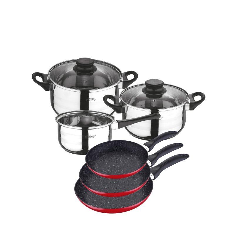 San Ignacio Batería de Cocina 3 Ollas + 3 Sartenes de Aluminio 16/20/24cm