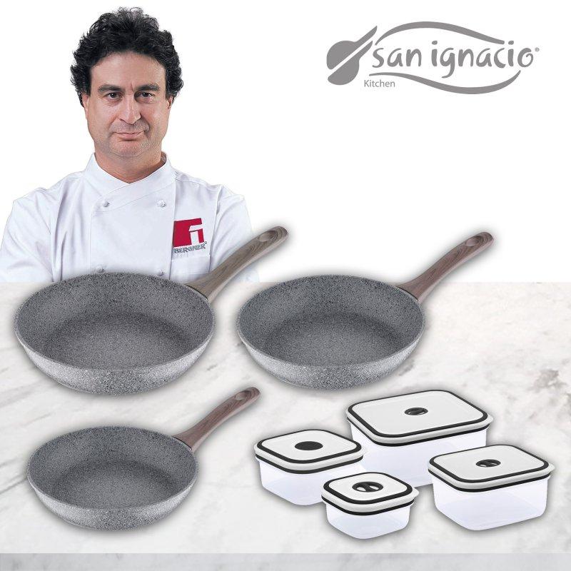 San Ignacio Granito Set 3 Sartenes de Aluminio 20/24/26cm + 4 Recipientes Herméticos