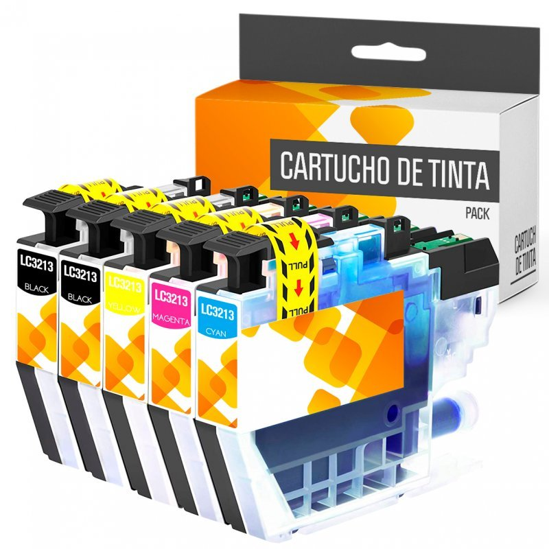 Brother LC3213/LC3211 Pack 5 Cartuchos Tinta Compatible Negro/Cian/Magenta/Amarillo
