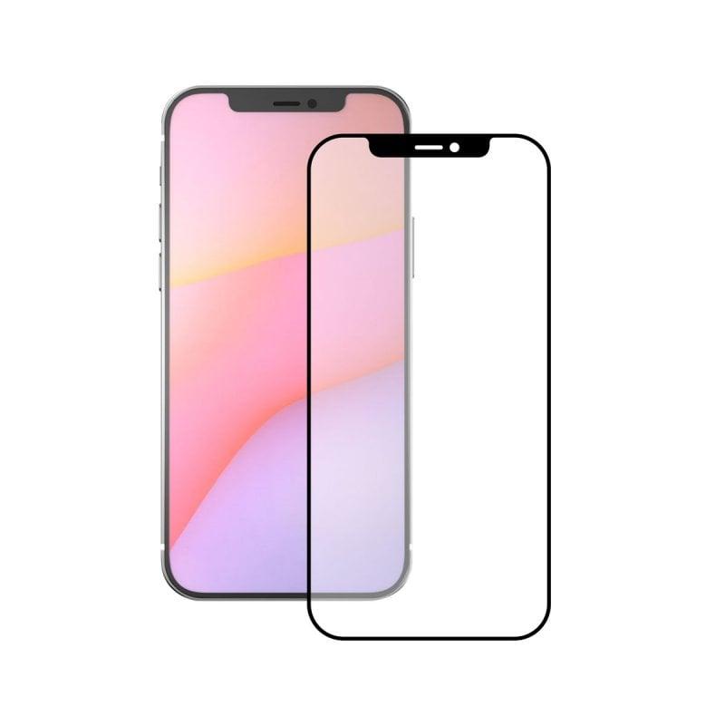 Ksix Cristal Templado 9H Full Glue 2.5D Borde Negro para iPhone 12 Pro