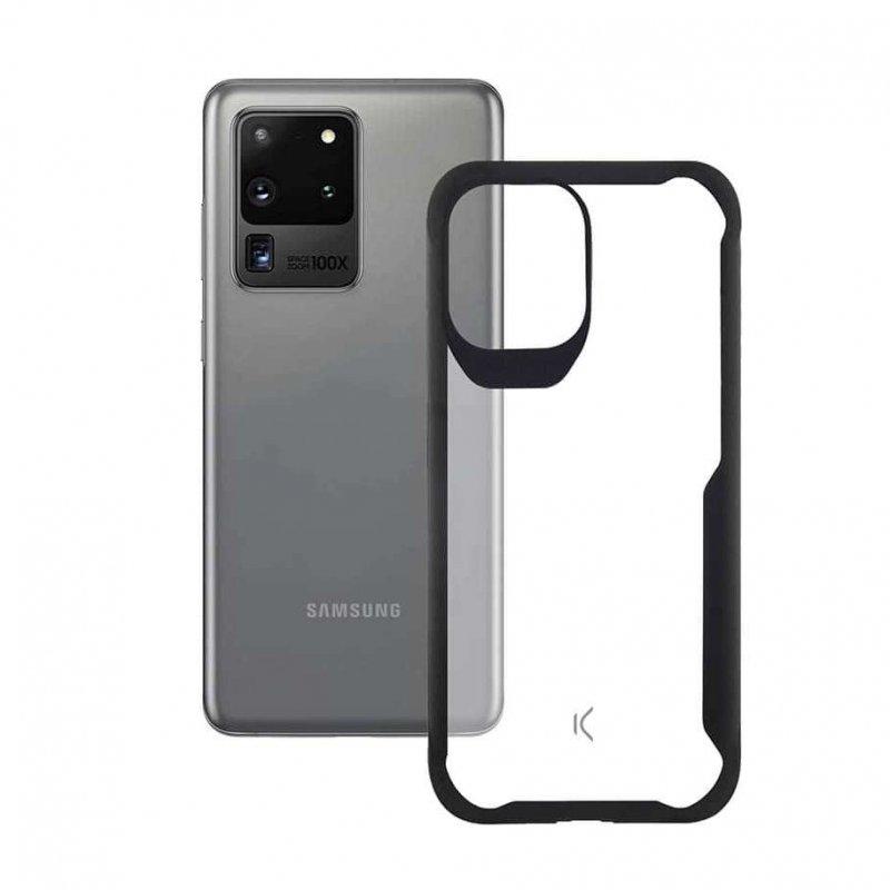 Ksix Flex Armor Funda TPU Transparente Borde Negro para Samsung Galaxy S20 Ultra