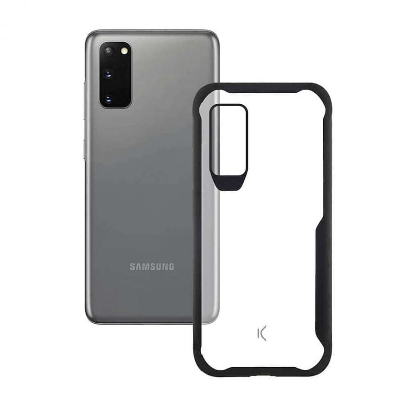 Ksix Flex Armor Funda TPU Transparente Borde Negro para Samsung Galaxy S20