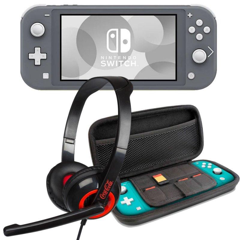 nintendo switch lite gris  set transporte gris  headset
