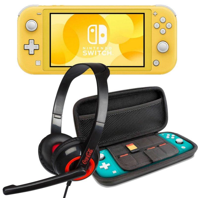 nintendo switch lite amarillo  set transporte azul  headset