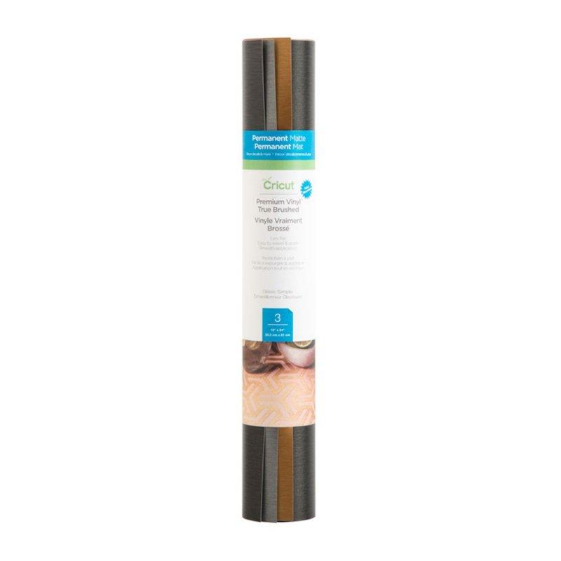Cricut True Brushed Pack 3 Vinilos Adhesivos Permanentes 30.5 x 61 cm Colores Clásicos