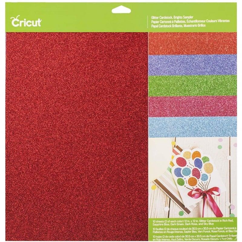 "Cricut Glitter Pack de 10 Cartulinas con Purpurina 12""x12"" Colores Brillantes"
