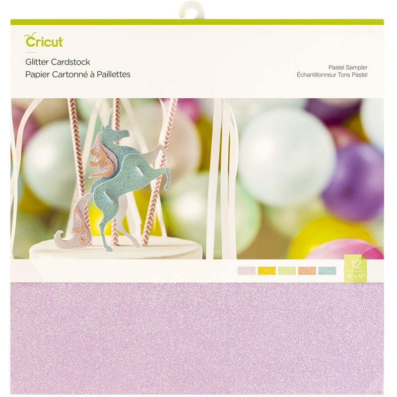 "Cricut Glitter Pack de 10 Cartulinas con Purpurina 12""x12"" Colores Pastel"