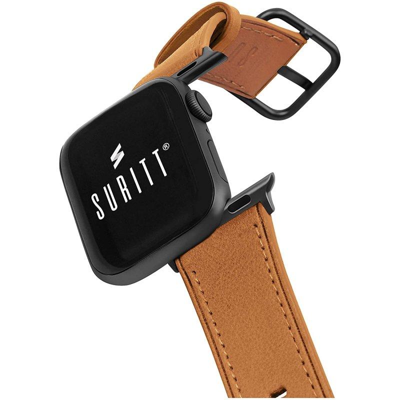 Suritt Rio Correa de Piel/Cuero Marrón con Adaptadores Negros para Apple Watch 38/40mm