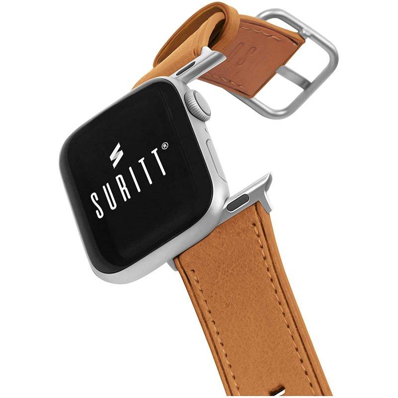 Suritt Rio Correa de Piel/Cuero Marrón con Adaptadores Plateados para Apple Watch 38/40mm