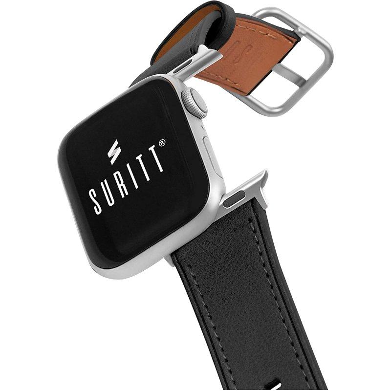 Suritt Rio Correa de Piel/Cuero Negro con Adaptadores Plateados para Apple Watch 38/40mm