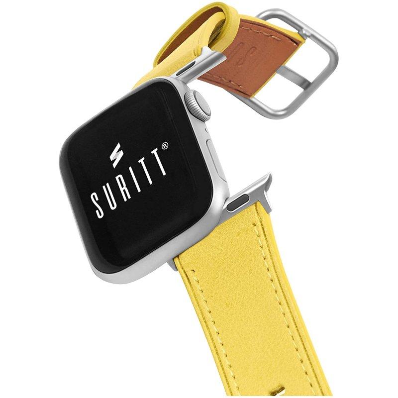 Suritt Rio Correa de Piel/Cuero Amarillo con Adaptadores Plateados para Apple Watch 38/40mm