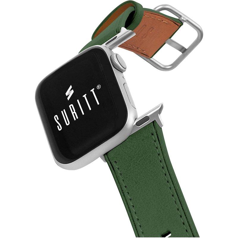 Suritt Rio Correa de Piel/Cuero Verde con Adaptadores Plateados para Apple Watch 38/40mm