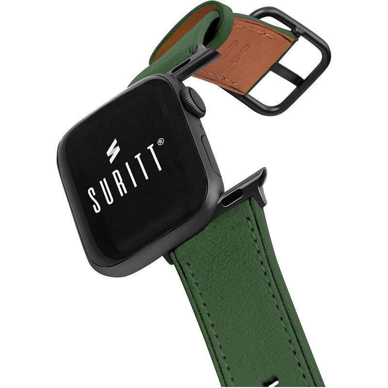 Suritt Rio Correa de Piel/Cuero Verde con Adaptadores Negros para Apple Watch 38/40mm