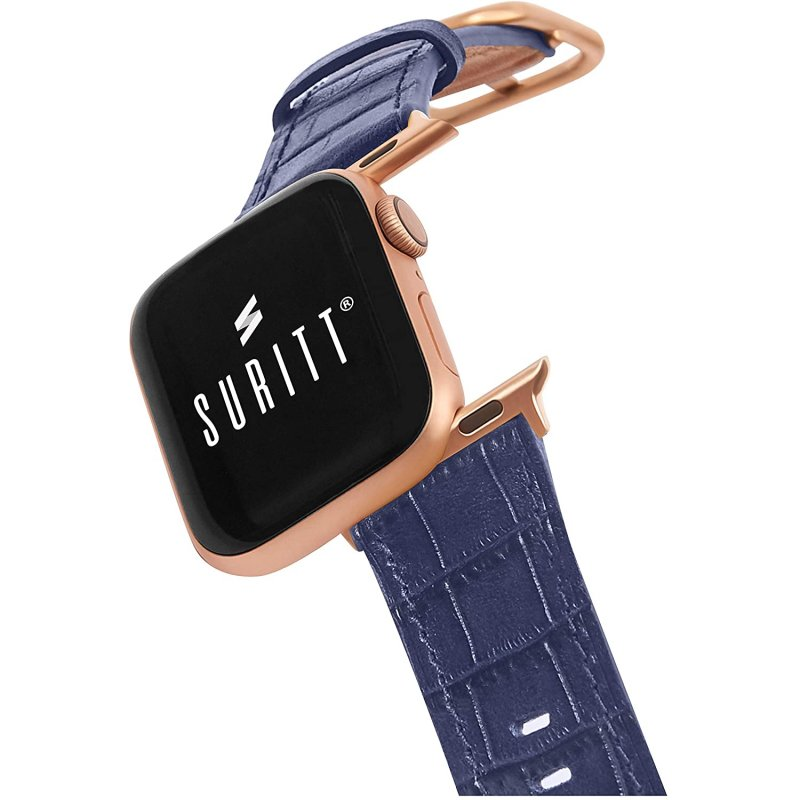 Suritt Sidney Correa de Piel/Cuero Azul con Adaptadores Dorados para Apple Watch 38/40mm