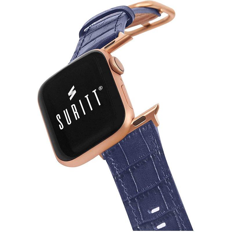 Suritt Sidney Correa de Piel/Cuero Azul con Adaptadores Dorados para Apple Watch 42/44mm