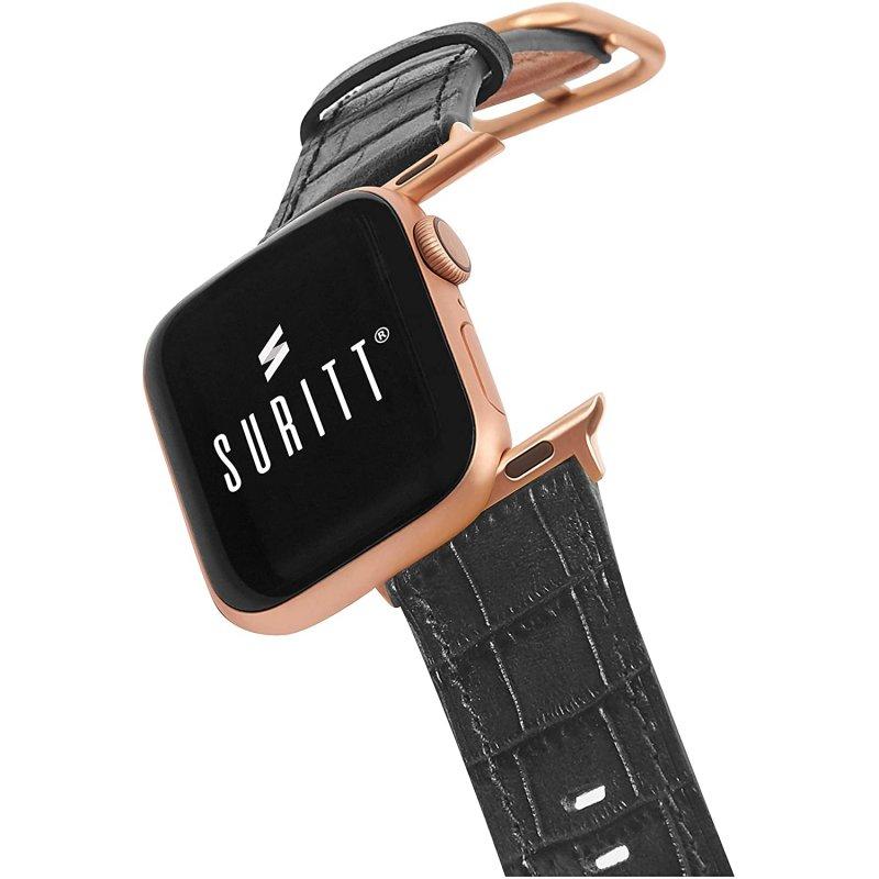 Suritt Sidney Correa de Piel/Cuero Negro con Adaptadores Dorados para Apple Watch 42/44mm