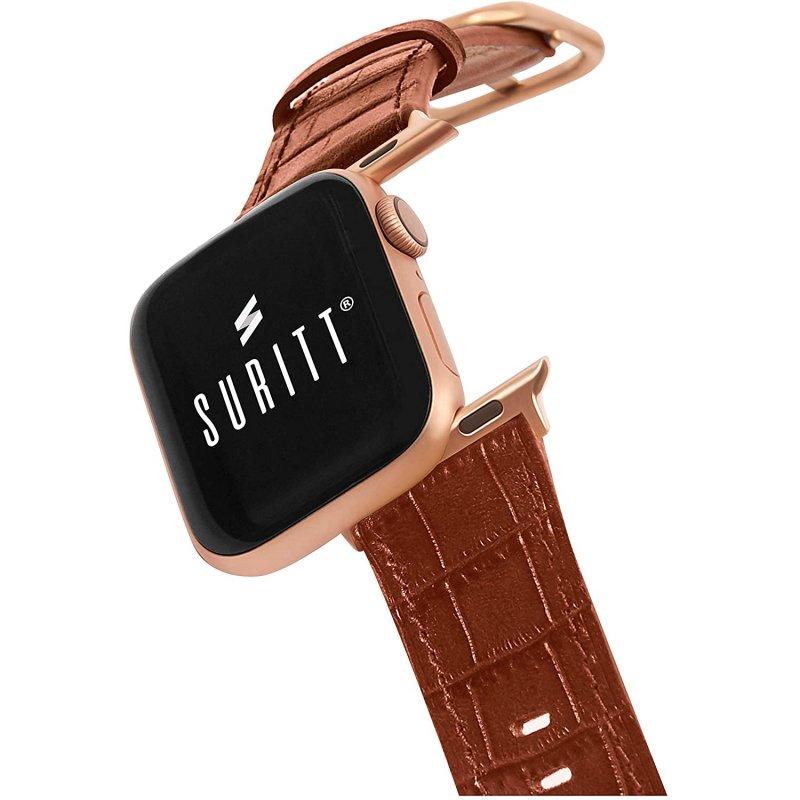 Suritt Sidney Correa de Piel/Cuero Marrón con Adaptadores Dorados para Apple Watch 42/44mm