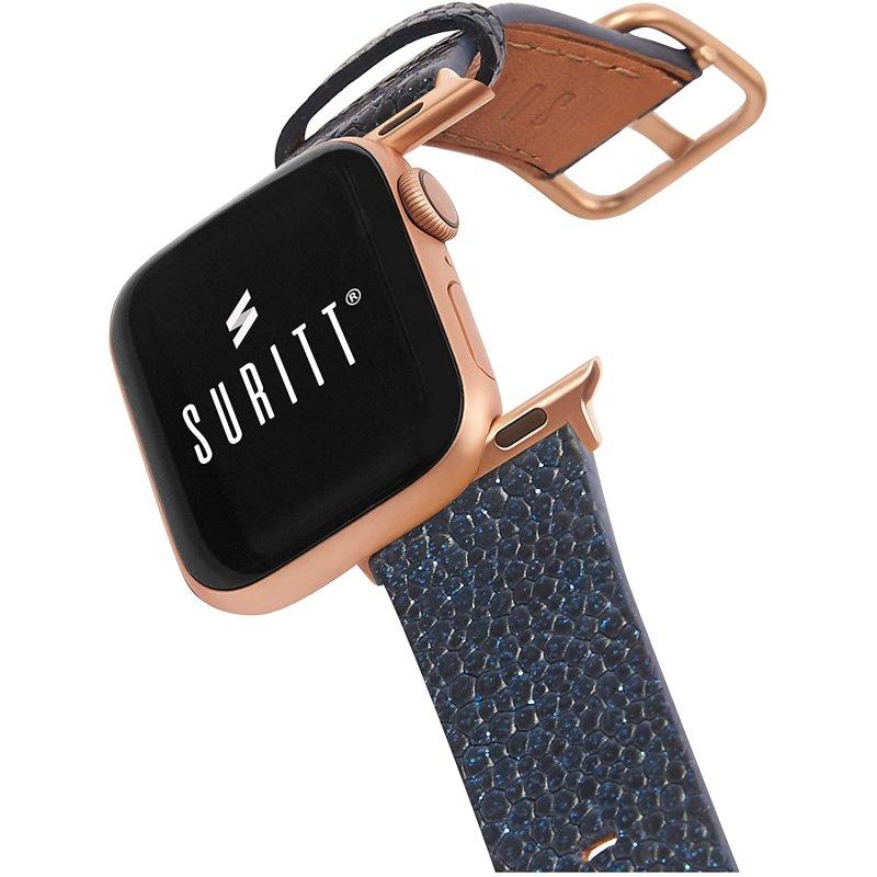 Suritt New Wonder Correa de Piel/Cuero Azul con Adaptadores Dorados para Apple Watch 38/40mm