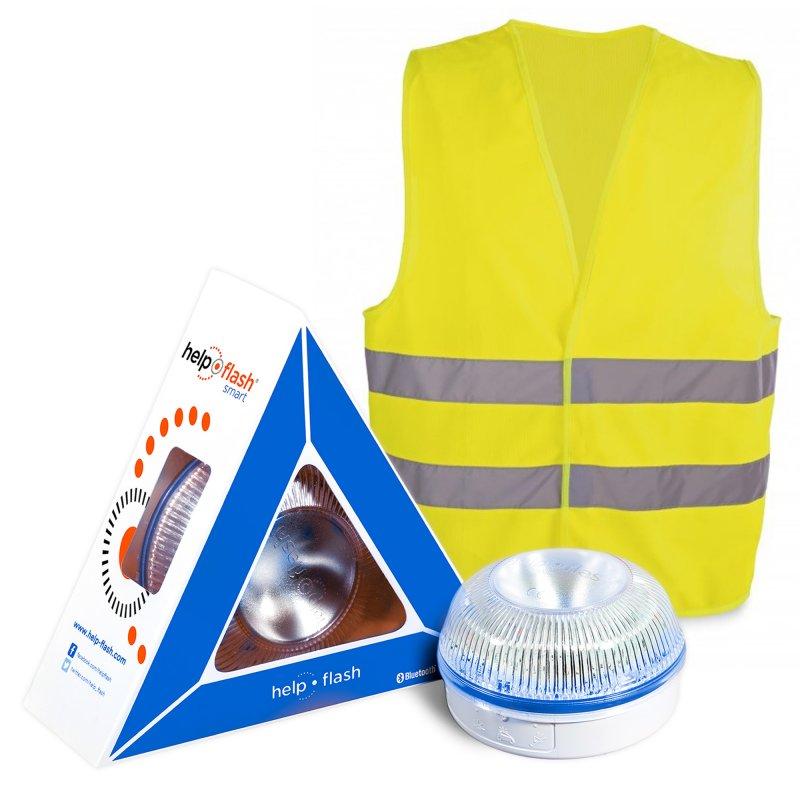 Help Flash Smart Luz de Emergencia Inteligente V16 Homologada DGT + Chaleco Reflectante Amarillo