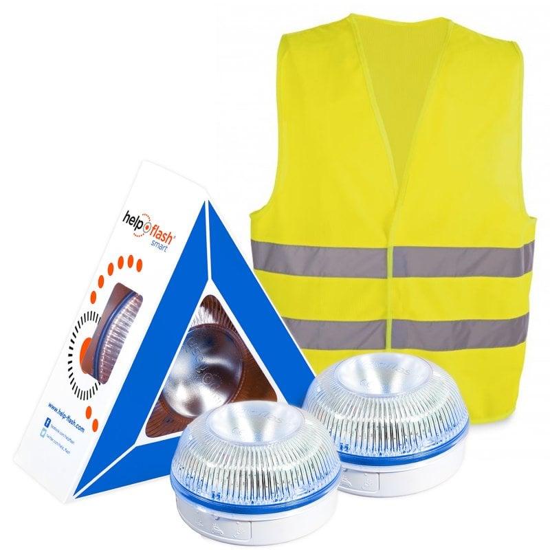 Help Flash Smart Luz de Emergencia Inteligente V16 Homologada DGT 2 Unidades + Chaleco Reflectante