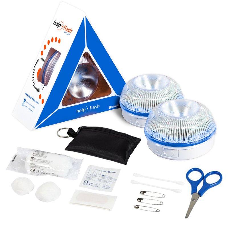Help Flash Smart Luz de Emergencia Inteligente V16 Homologada DGT Pack 2 Unidades + Botiquín