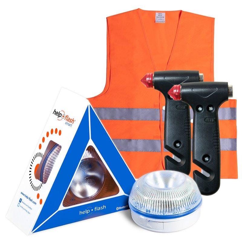 Help Flash Smart Luz de Emergencia Inteligente V16 Homologada DGT + 2 Martillos + Chaleco