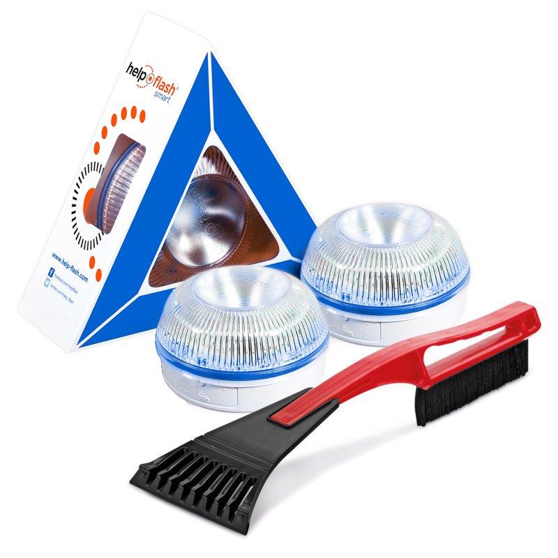 Help Flash Smart Luz de Emergencia Inteligente V16 Homologada DGT Pack 2 Unidades + Rascador Hielo