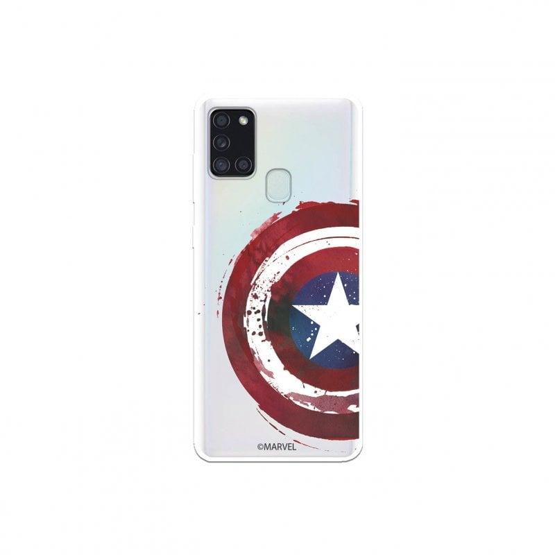Funda Oficial de Marvel Capitán América Escudo Transparente Marvel para Samsung Galaxy A21S