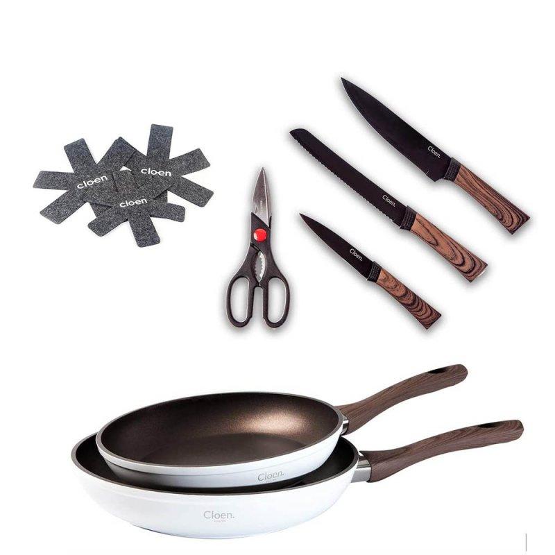 Cloen Alex Set de Sartenes Aluminio + Set de Cuchillos Leo + Protectores