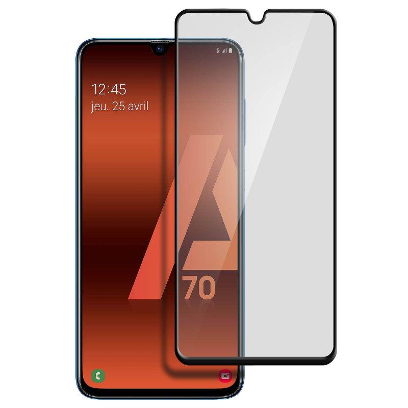 Avizar Protector Cristal Templado Negro para Samsung Galaxy A70
