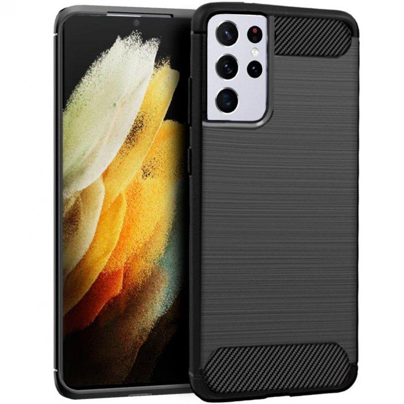 Cool Funda Carbón Negro Para Samsung Galaxy S21 Ultra