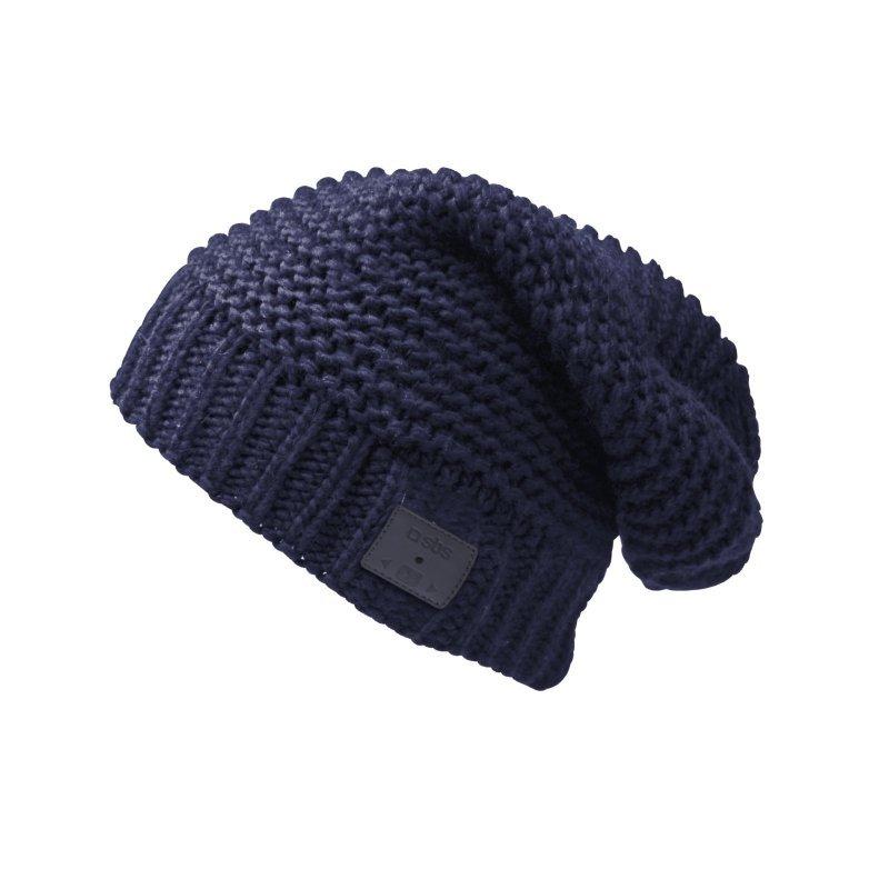 sbs gorro de lana hip hop azul con auriculares y microfono inalambricos