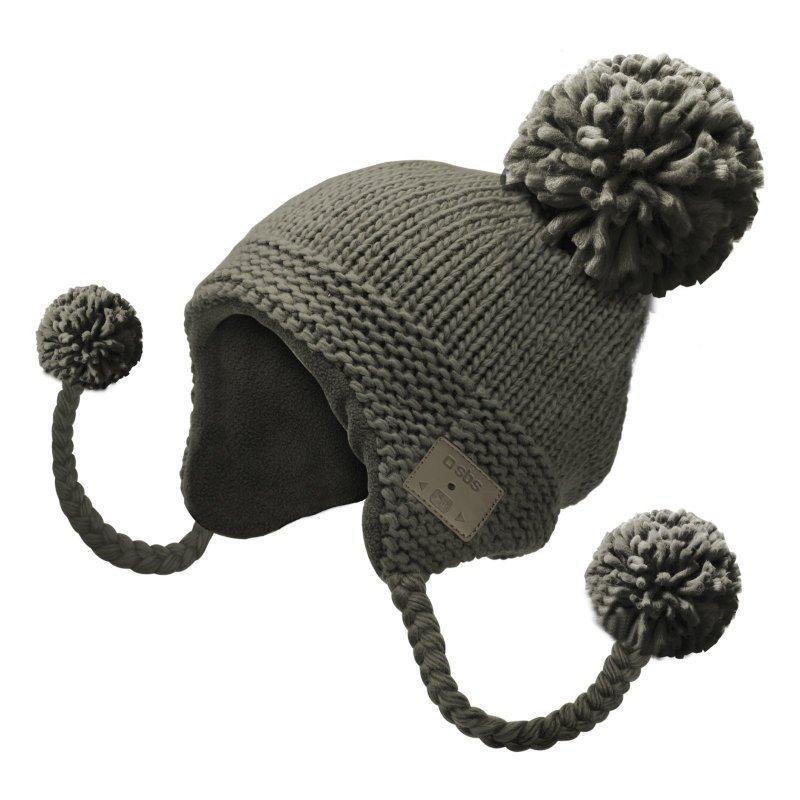 sbs gorro de lana trenzada gris con auriculares y microfono inalambricos