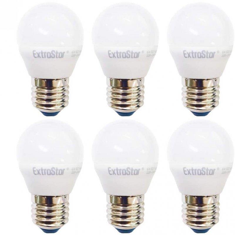 Extrastar Pack 6 Bombillas LED E27 6W Blanco Neutro