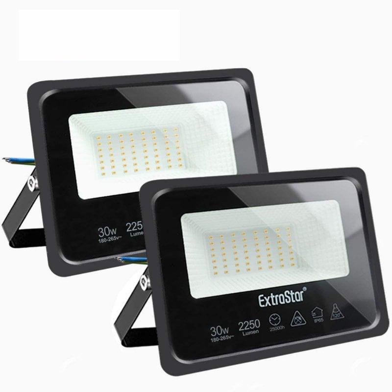 Extrastar Pack 2 Focos LED de Exterior 30WBlanco Cálido