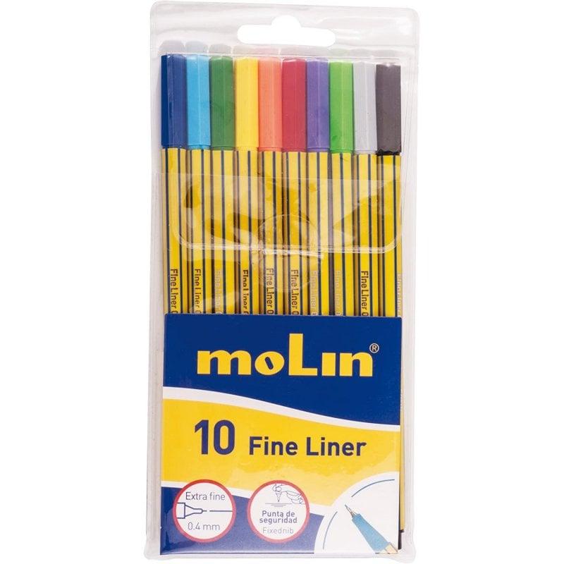 Molin Fine-Liner RFL290-10B Pack 10 Marcadores Punta Extra Fina Colores Surtidos