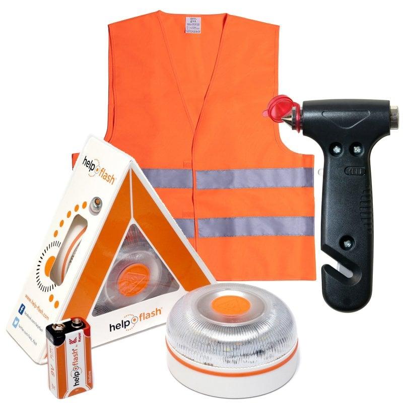 Help Flash V2.0 Dispositivo de Señalización V16 Homologada DGT + Martillos de Emergencia + Chaleco Reflectante Naranja
