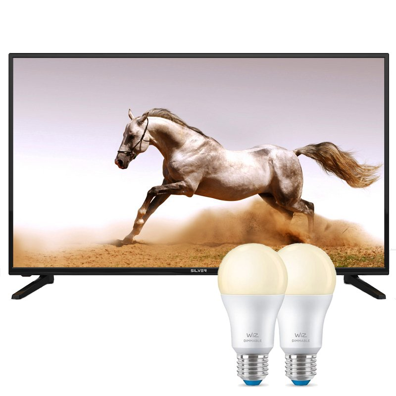 "Televisor Pack Ambient Room TV Silver 410983 43"" LED FullHD + WIZ 2x Bombillas Inteligentes WiFi/Bluetooth E27"