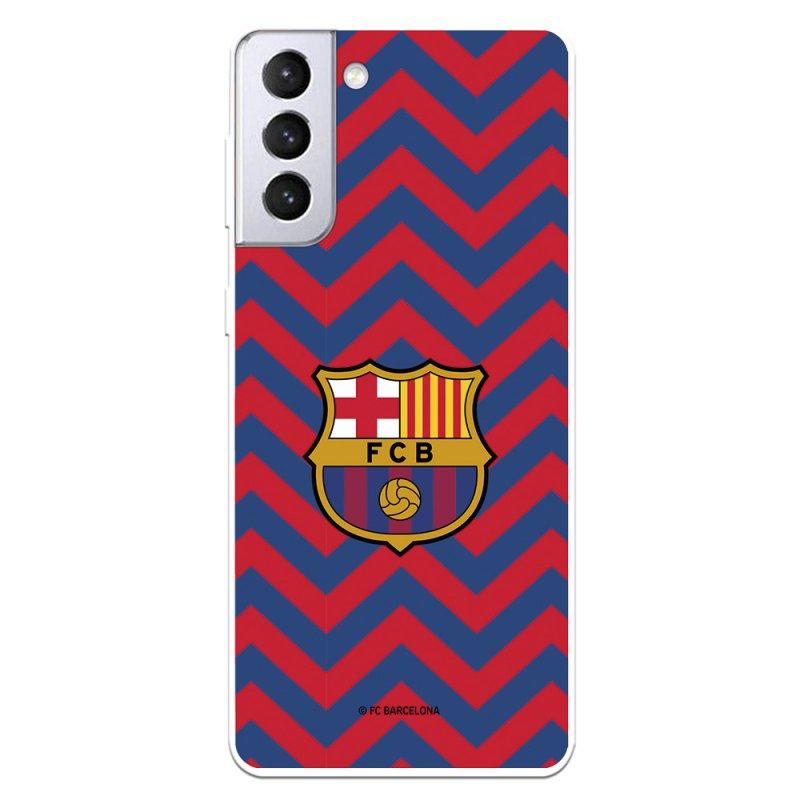 Funda Del Barcelona Escudo Fondo Zigzag Rojo Y Azul Licencia Oficial FC Barcelona Para Samsung Galaxy S21 Plus