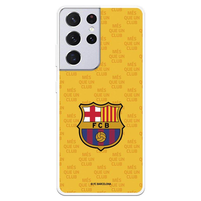 Funda Del Barcelona Escudo Mes Que Un Club Fondo Amarillo Licencia Oficial FC Barcelona Para Samsung Galaxy S21 Ultra