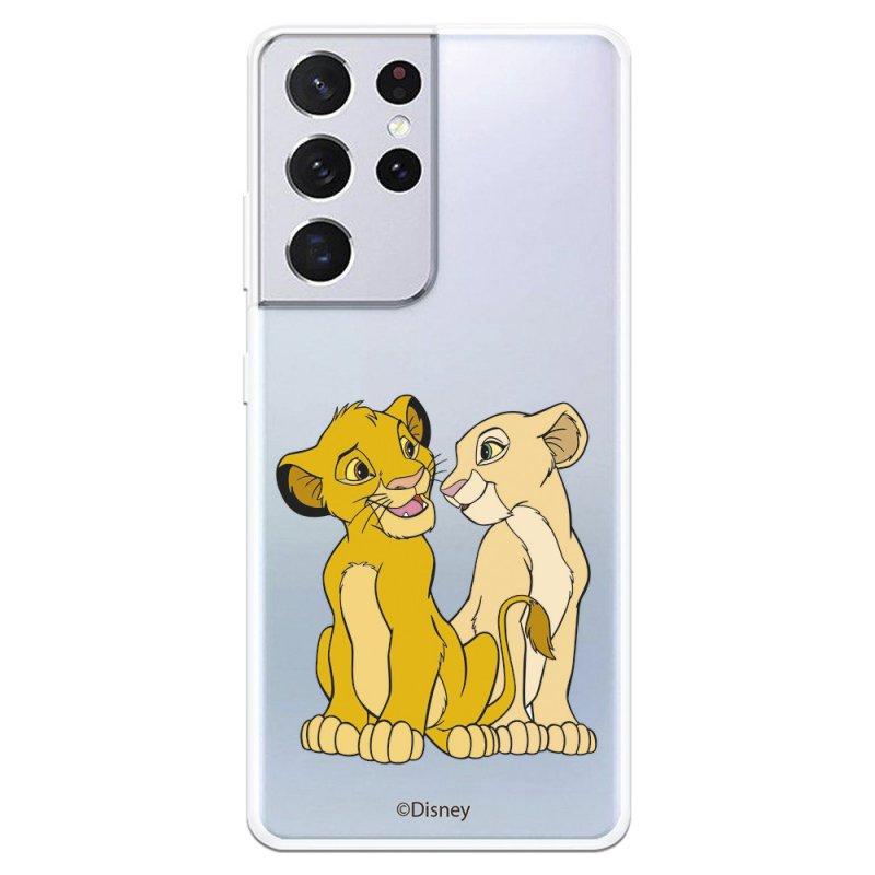 Funda Oficial de Disney Simba y Nala Silueta El Rey León para Samsung Galaxy S21 Ultra