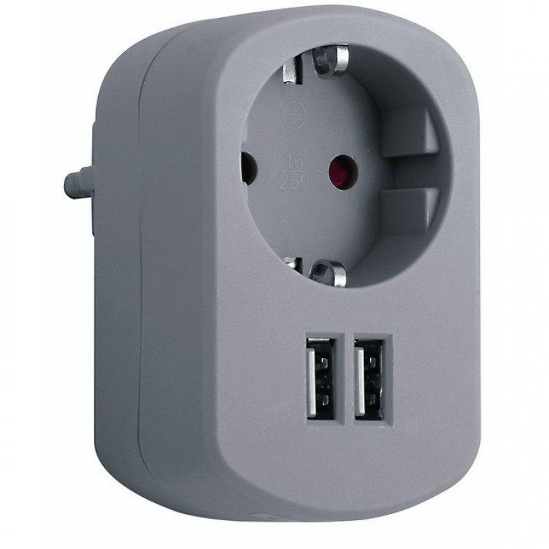 Simon Brico Adaptador de Corriente + 2 USB Gris