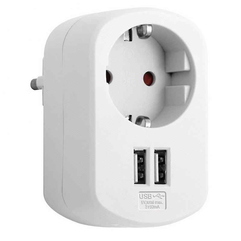 Simon Brico Adaptador de Corriente + 2 USB Blanco