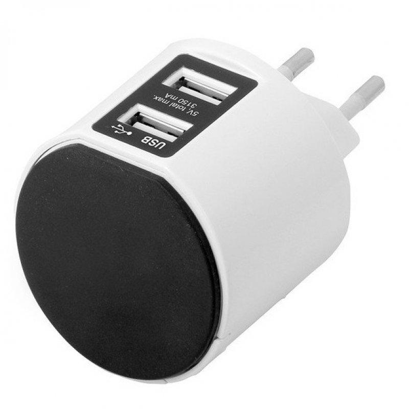 Simon Brico Adaptador de Corriente con Soporte + 2 USB Blanco